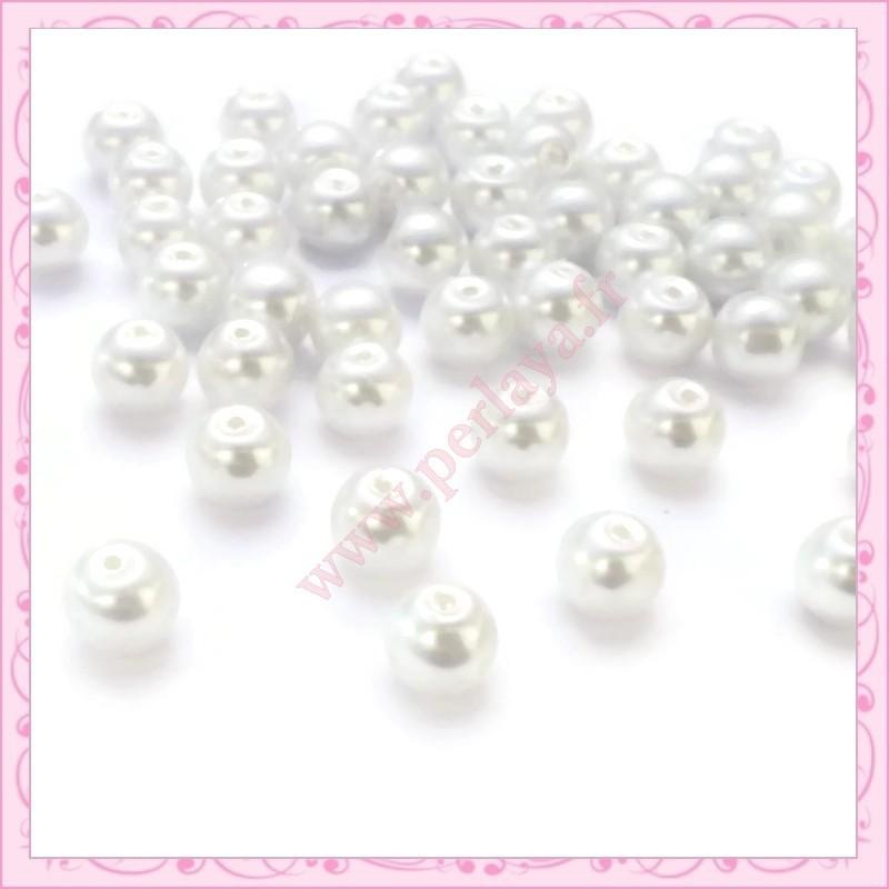 lot de 50 perles en verre nacr 8mm blanche perlaya. Black Bedroom Furniture Sets. Home Design Ideas