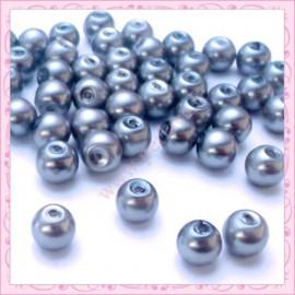 Lot de 50 perles en verre nacré 8mm grise