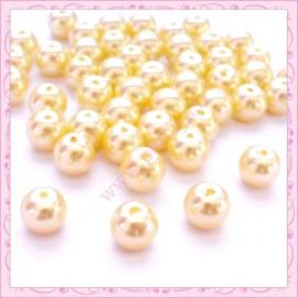 Lot de 50 perles en verre nacré 8mm jaune pâle