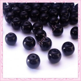 Lot de 50 perles en verre nacré 8mm noir
