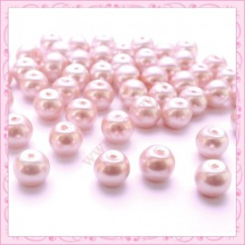 Lot de 50 perles en verre nacré 8mm rose