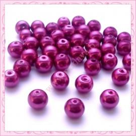 50 perles en verre nacrées 8mm rouge