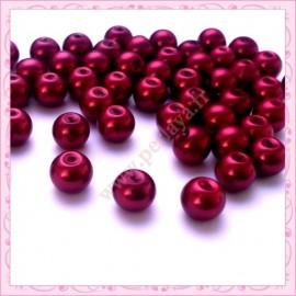 Lot de 50 perles en verre nacré 8mm rouge