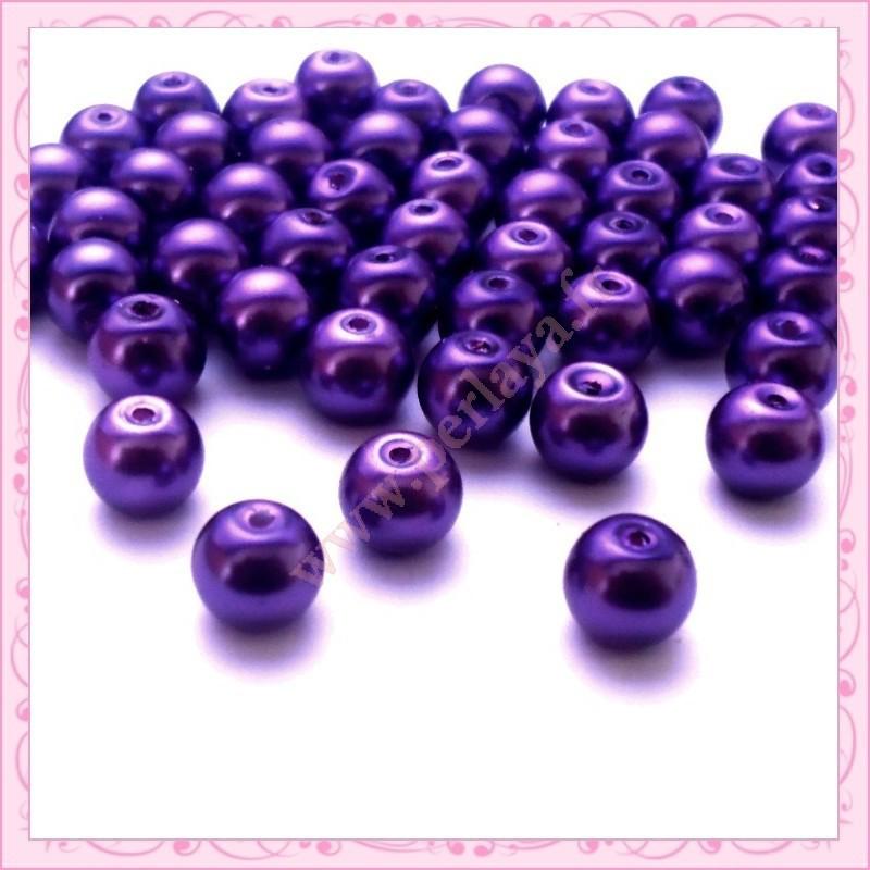 lot de 50 perles en verre nacr 8mm violette perlaya. Black Bedroom Furniture Sets. Home Design Ideas