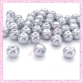 Lot de 50 perles nacrées en verre 8mm gris