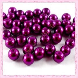 Lot de 50 perles nacrées en verre 8mm violette