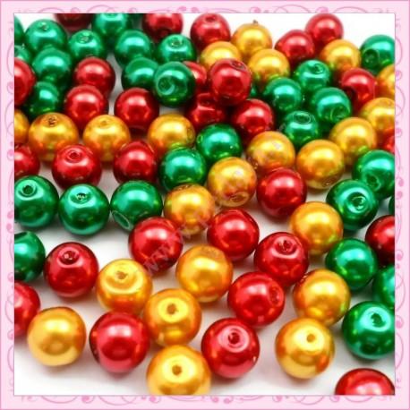 Mix de 100 perles nacrées en verre 8mm vert - rouge - doré