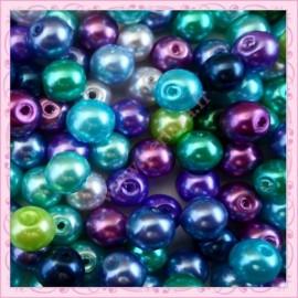Mix de 150 perles nacrées en verre NATURALITY couleur bleu, vert, violet