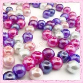 Mix de 150 perles nacrées en verre CANDYLOVE : rose, violet, blanc