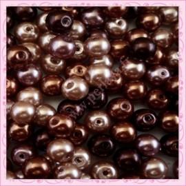 Mix de 150 perles nacrées en verre CHOCOLATE couleur marron, caramel, chocolat