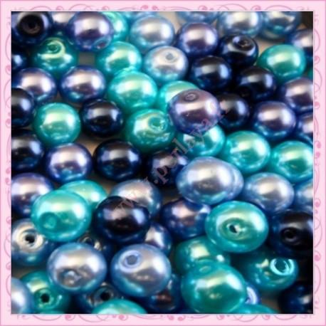 Mix de 150 perles nacrées en verre OCEANBLUE couleur bleu