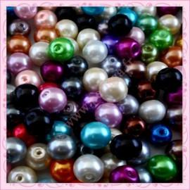 Mixte de 150 perles nacrées en verre
