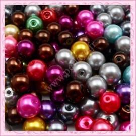 Mixte de 200 perles nacrées en verre 4mm