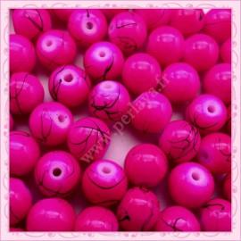 Lot de 100 perles en verre rose fushia 8mm effet filament