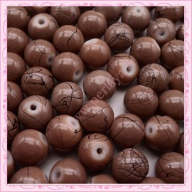 Lot de 100 perles en verre marron 8mm effet filament