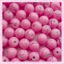 Lot de 100 perles en verre rose 8mm effet filament