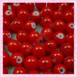 Lot de 100 perles en verre rouge 8mm effet filament