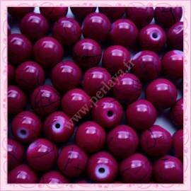 Lot de 100 perles en verre violette 8mm effet filament
