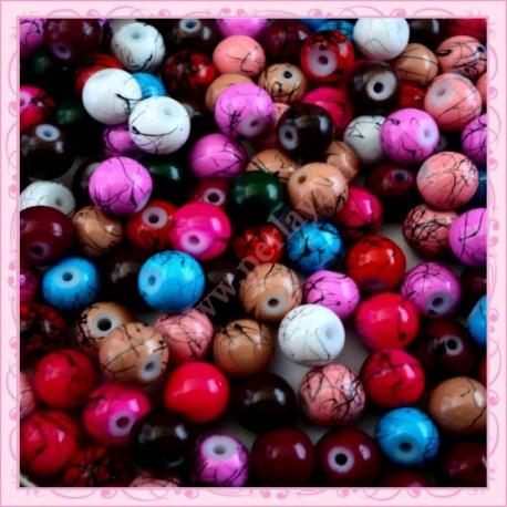 Mix de 150 perles en verre 8mm effet filament