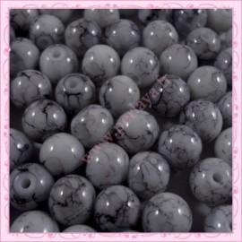 Lot de 100 perles en verre blanche 8mm effet tacheté