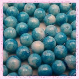 Lot de 100 perles en verre bleu 8mm effet tacheté