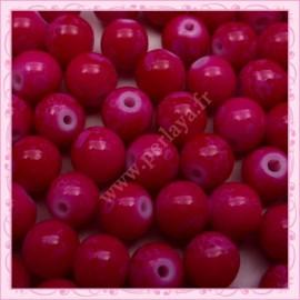 Lot de 100 perles en verre fushia effet tacheté