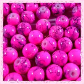 Lot de 100 perles en verre rose - gris effet tacheté
