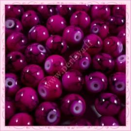 Lot de 100 perles en verre violet fushia - noire 8mm effet tacheté