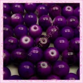 Lot de 100 perles en verre violette - noire 8mm effet tacheté