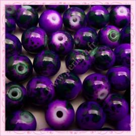 Lot de 100 perles en verre violette - verte 8mm effet tacheté