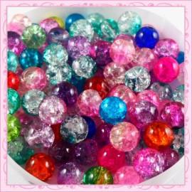 Mixte de 100 perles craquelées en verre 8mm