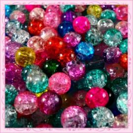 Mixte de 200 perles craquelées en verre 8mm