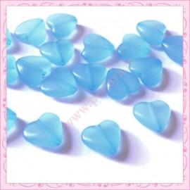 20 perles coeurs bleu en acrylique