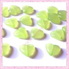 20 perles coeurs vert pomme en acrylique