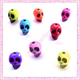 lot de 80 perles tête de mort en acrylique
