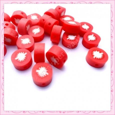 lot de 25 perles tranche fimo tomate