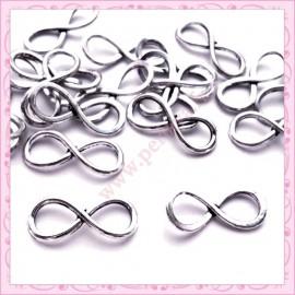 20 perles infini en métal argenté 3cm