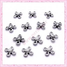 30 perles connecteurs argentés en métal 12mm