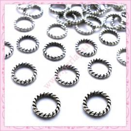 40 perles anneaux fermés en métal argentés