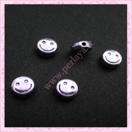 Lot de 5 perles smiley argentés vieilli 6mm