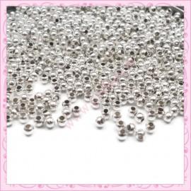 Lot de 1000 perles rondes en métal argentées 3mm