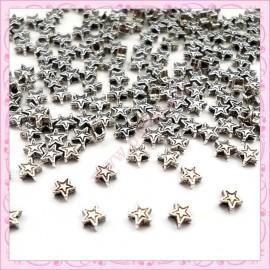 Lot de 200 petites perles étoiles en métal argentées 4mm