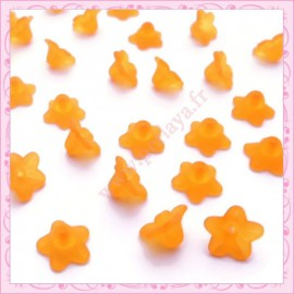 lot de 50 fleurs lucite en acrylique orange