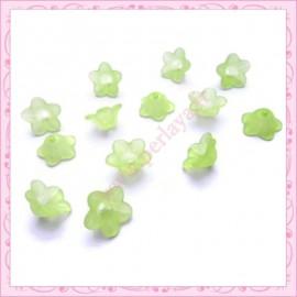 lot de 50 fleurs lucite verte 13mm