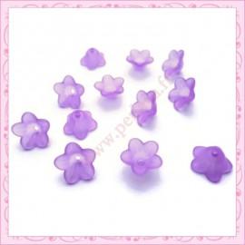 lot de 50 fleurs lucite violette 13mm
