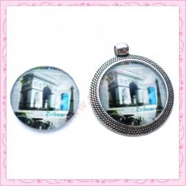 Cabochon en verre rond 25mm Arc de Triomphe