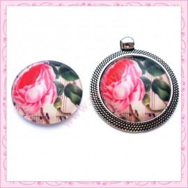 Cabochon en verre rond 25mm floral