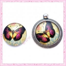 Cabochon en verre rond 25mm papillon