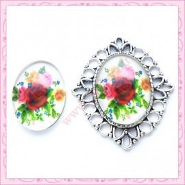 Cabochon en verre oval 30x20mm floral