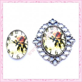Cabochon en verre oval 18x25mm horloge